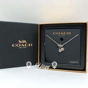 Coach Cherry Necklace F6710 Silver Coach Box NEW
